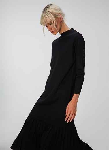 People By Fabrika Piliseli Triko Elbise Siyah